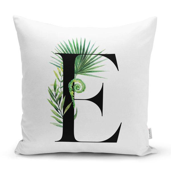 Beyaz Zemin Yaprak Motifli Siyah E Harfi Özel Tasarım Dijital Baskılı Yastık Kırlent Kılıfı Realhomes