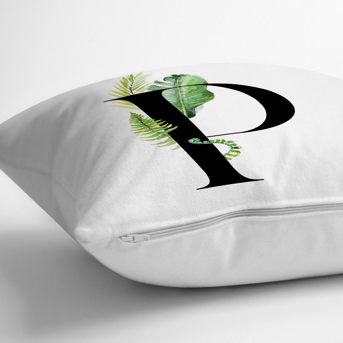 Beyaz Zemin Yaprak Motifli Siyah P Harfi Özel Tasarım Dijital Baskılı Yastık Kırlent Kılıfı Realhomes