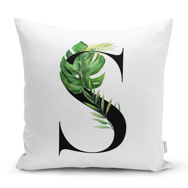 Beyaz Zemin Yaprak Motifli Siyah Ü Harfi Özel Tasarım Dijital Baskılı Yastık Kırlent Kılıfı Realhomes