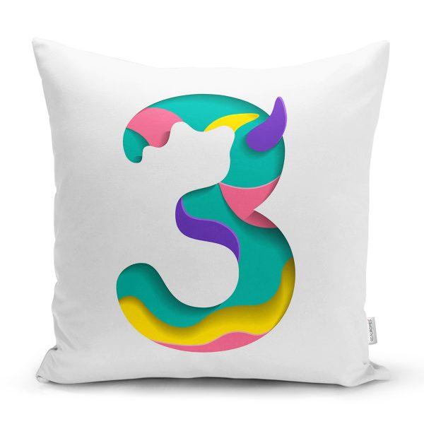Beyaz Zemin Renkli 3 Rakamlı Özel Tasarım Dijital Baskılı Yastık Kırlent Kılıfı Realhomes