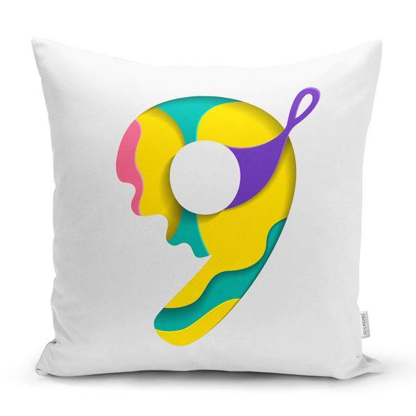 Beyaz Zemin Renkli D Harfli Özel Tasarım Dijital Baskılı Yastık Kırlent Kılıfı Realhomes