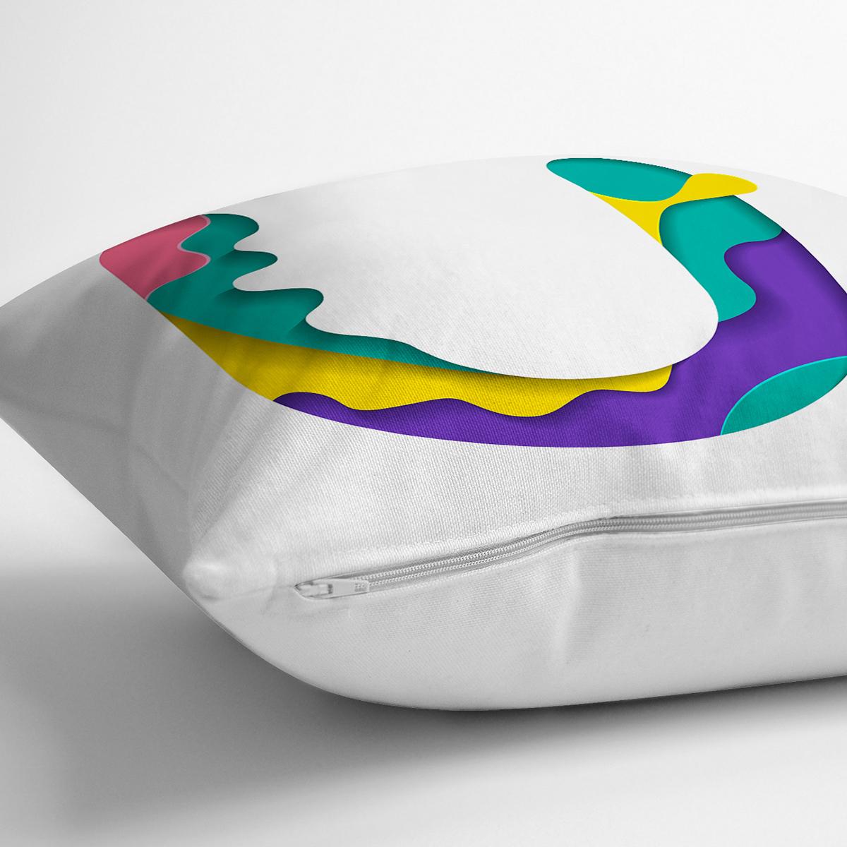 Beyaz Zemin Renkli U Harfli Özel Tasarım Dijital Baskılı Yastık Kırlent Kılıfı Realhomes