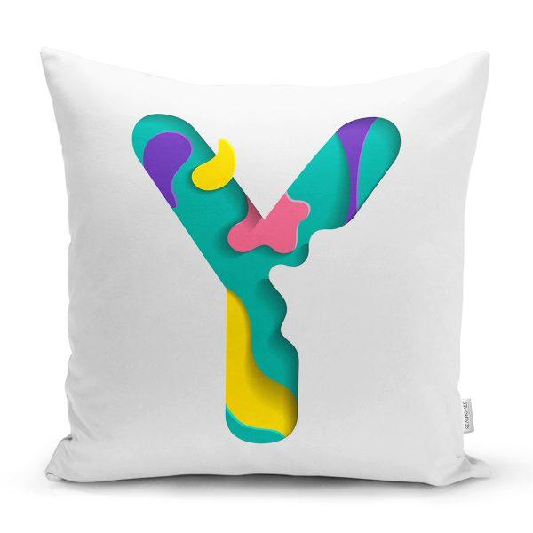 Beyaz Zemin Renkli & Harfli Özel Tasarım Dijital Baskılı Yastık Kırlent Kılıfı Realhomes