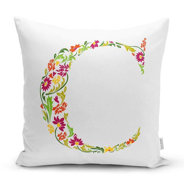Beyaz Zemin Yaprak Temalı E Harfi Özel Tasarım Dijital Baskılı Yastık Kırlent Kılıfı Realhomes