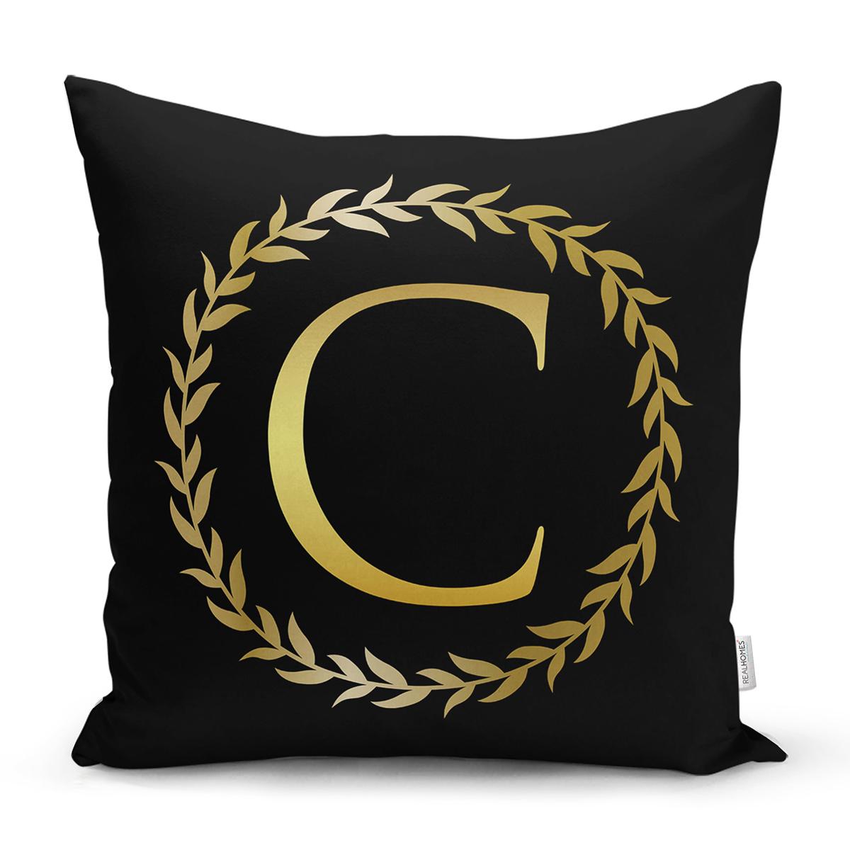 Siyah Zemin Gold Yaprak Çerçeveli C Harfi Özel Tasarım Dijital Baskılı Yastık Kırlent Kılıfı Realhomes