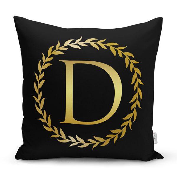 Siyah Zemin Gold Yaprak Çerçeveli D Harfi Özel Tasarım Dijital Baskılı Yastık Kırlent Kılıfı Realhomes