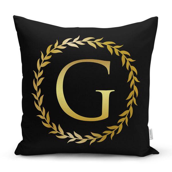 Siyah Zemin Gold Yaprak Çerçeveli E Harfi Özel Tasarım Dijital Baskılı Yastık Kırlent Kılıfı Realhomes
