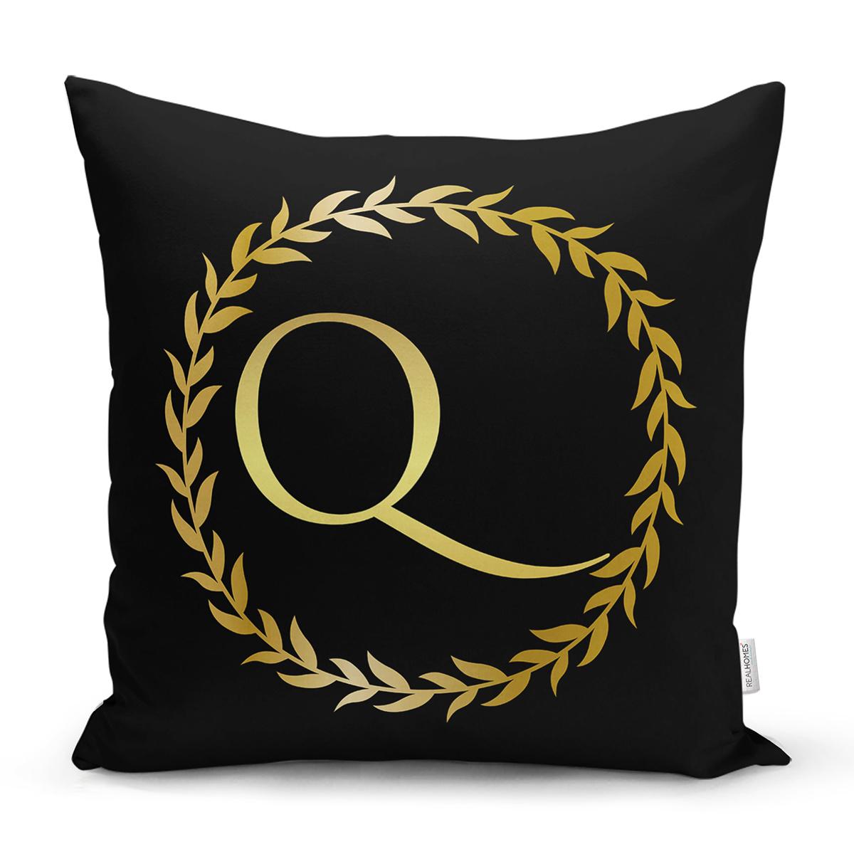 Siyah Zemin Gold Yaprak Çerçeveli Q Harfi Özel Tasarım Dijital Baskılı Yastık Kırlent Kılıfı Realhomes