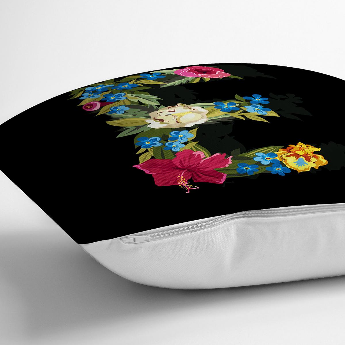 Siyah Zemin Renkli Gül Temalı E Harfi Özel Tasarım Dijital Baskılı Yastık Kırlent Kılıfı Realhomes