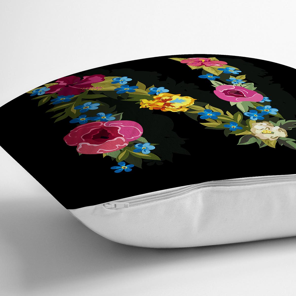 Siyah Zemin Renkli Gül Temalı N Harfi Özel Tasarım Dijital Baskılı Yastık Kırlent Kılıfı Realhomes