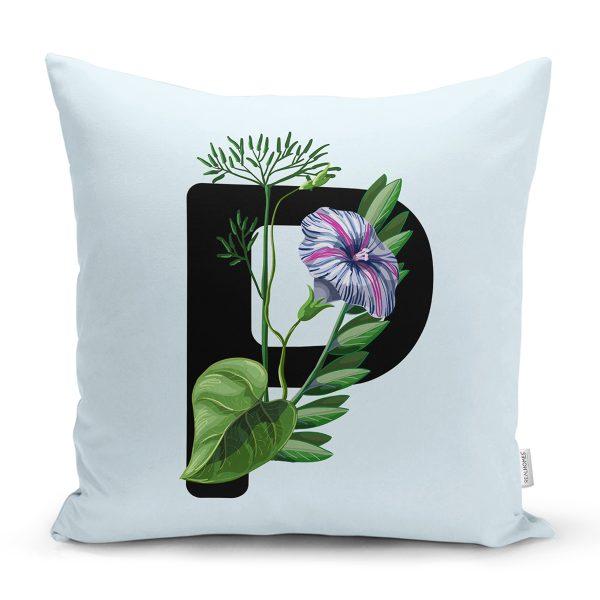 Mavi Zemin Çiçek Desenli Siyah L Harfi Özel Tasarım Dijital Baskılı Yastık Kırlent Kılıfı Realhomes