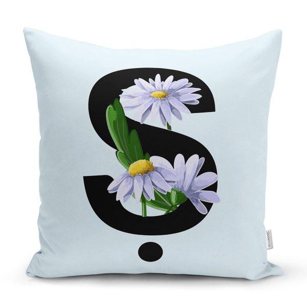 Mavi Zemin Çiçek Desenli Siyah V Harfi Özel Tasarım Dijital Baskılı Yastık Kırlent Kılıfı Realhomes
