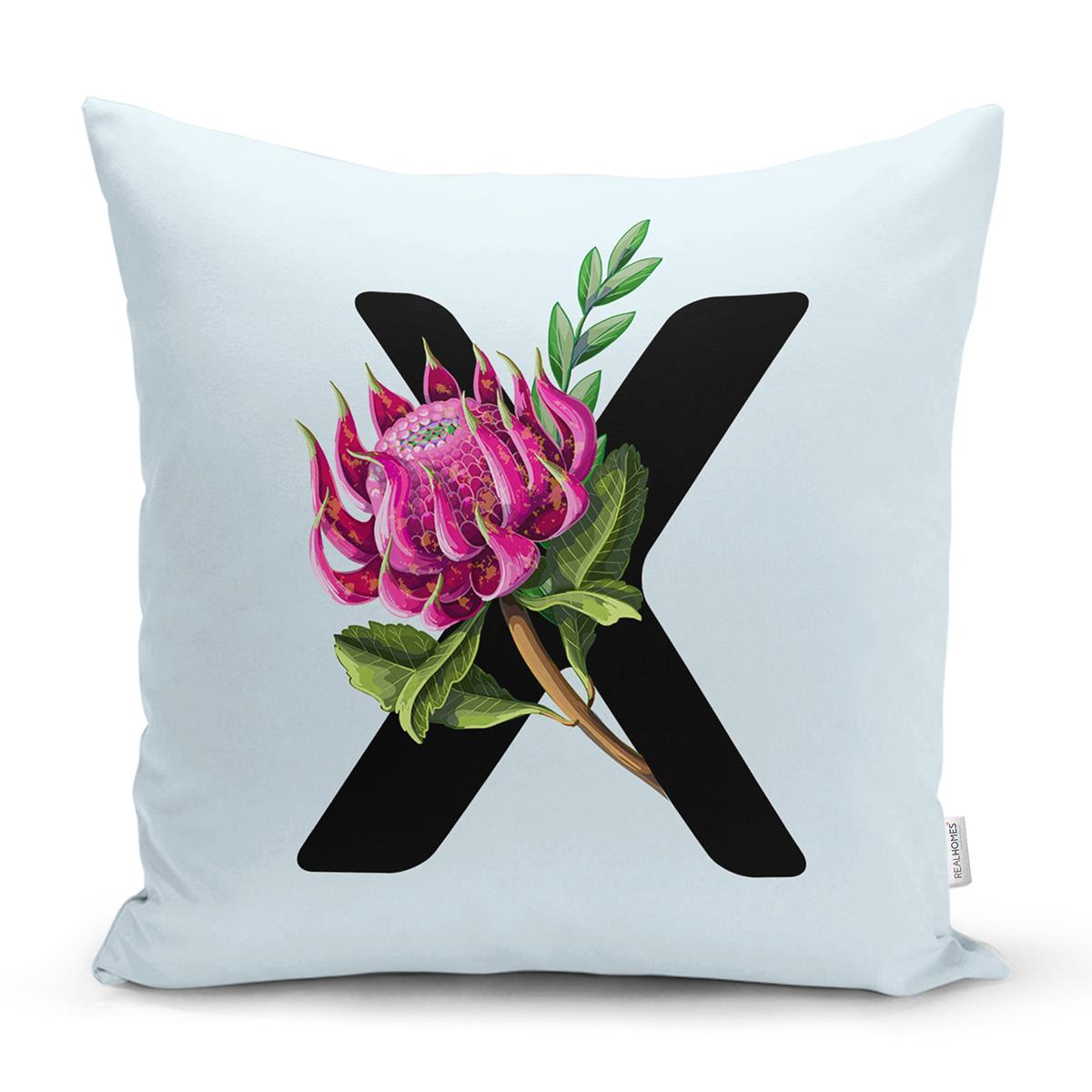 Mavi Zemin Çiçek Desenli Siyah X Harfi Özel Tasarım Dijital Baskılı Yastık Kırlent Kılıfı Realhomes