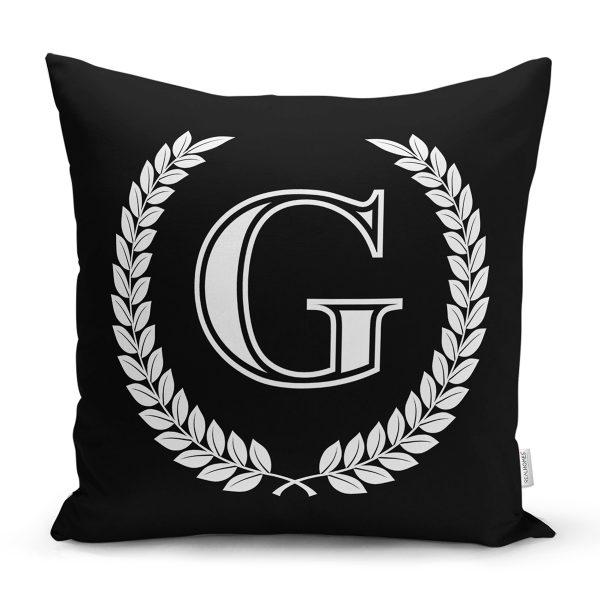 Siyah Beyaz Çelenkli G Harfi Özel Tasarım Dijital Baskılı Yastık Kırlent Kılıfı Realhomes