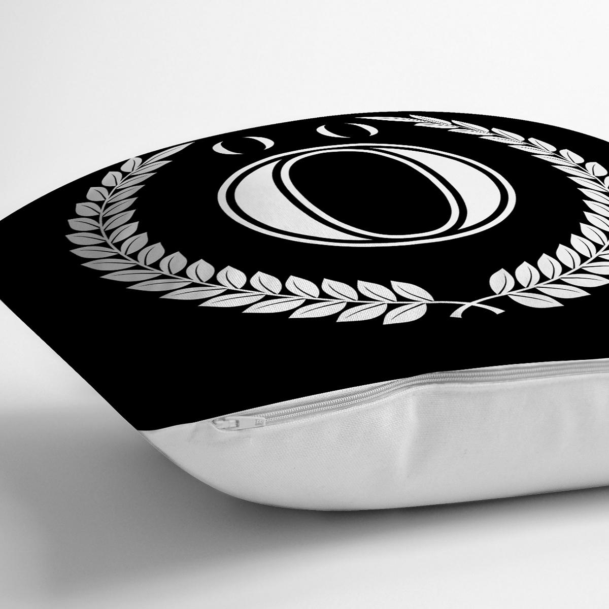 Siyah Beyaz Çelenkli Ö Harfi Özel Tasarım Dijital Baskılı Yastık Kırlent Kılıfı Realhomes