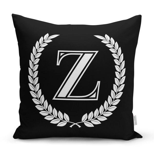 Siyah Beyaz Çelenkli Z Harfi Özel Tasarım Dijital Baskılı Yastık Kırlent Kılıfı Realhomes