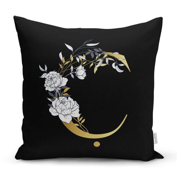 Siyah Zemin Beyaz Gül Motifli Gold H Harfi Özel Tasarım Dijital Baskılı Yastık Kırlent Kılıfı Realhomes