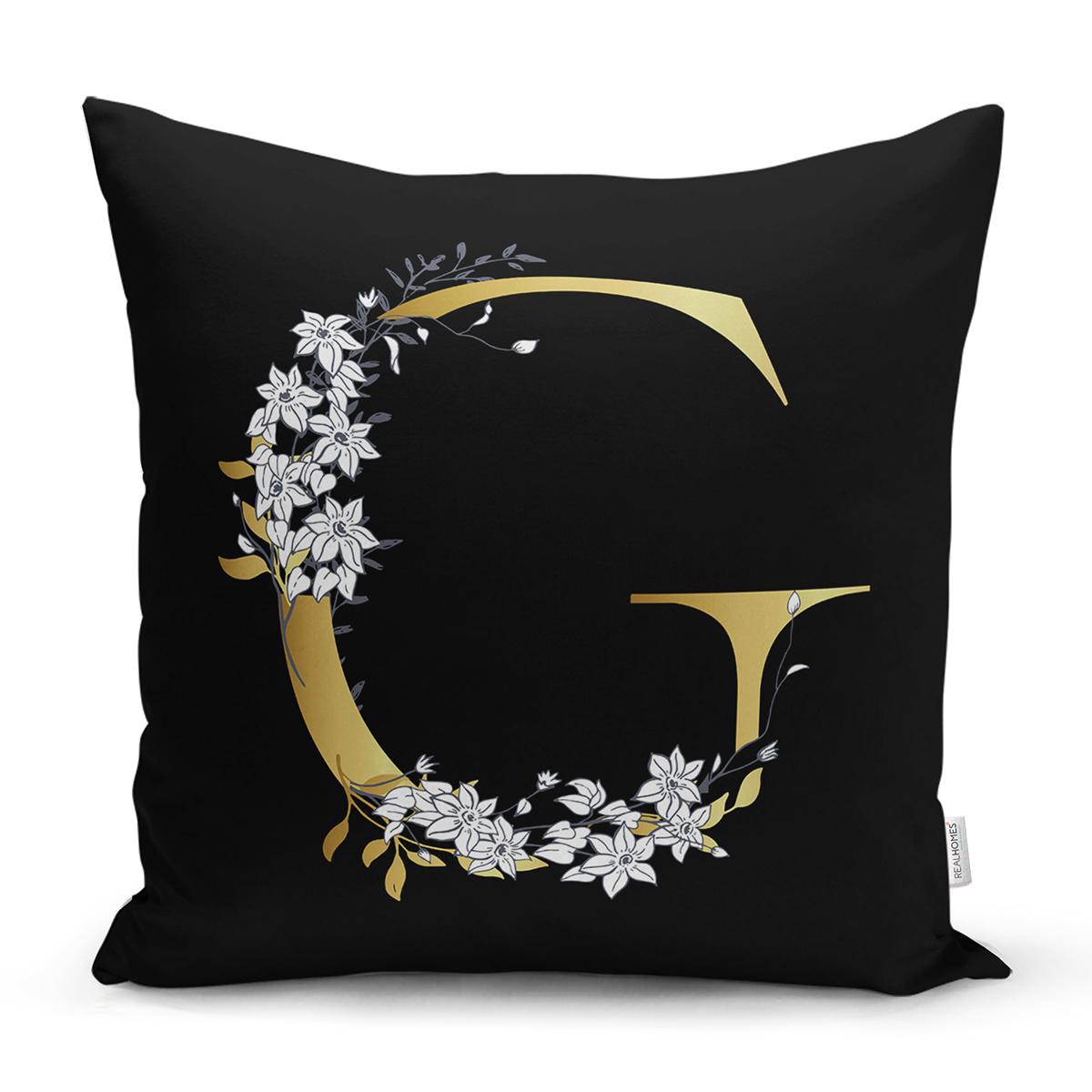 Siyah Zemin Beyaz Gül Motifli Gold G Harfi Özel Tasarım Dijital Baskılı Yastık Kırlent Kılıfı Realhomes