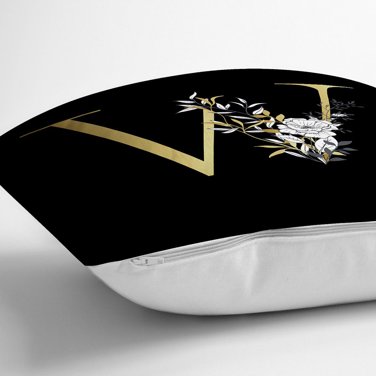 Siyah Zemin Beyaz Gül Motifli Gold W Harfi Özel Tasarım Dijital Baskılı Yastık Kırlent Kılıfı Realhomes