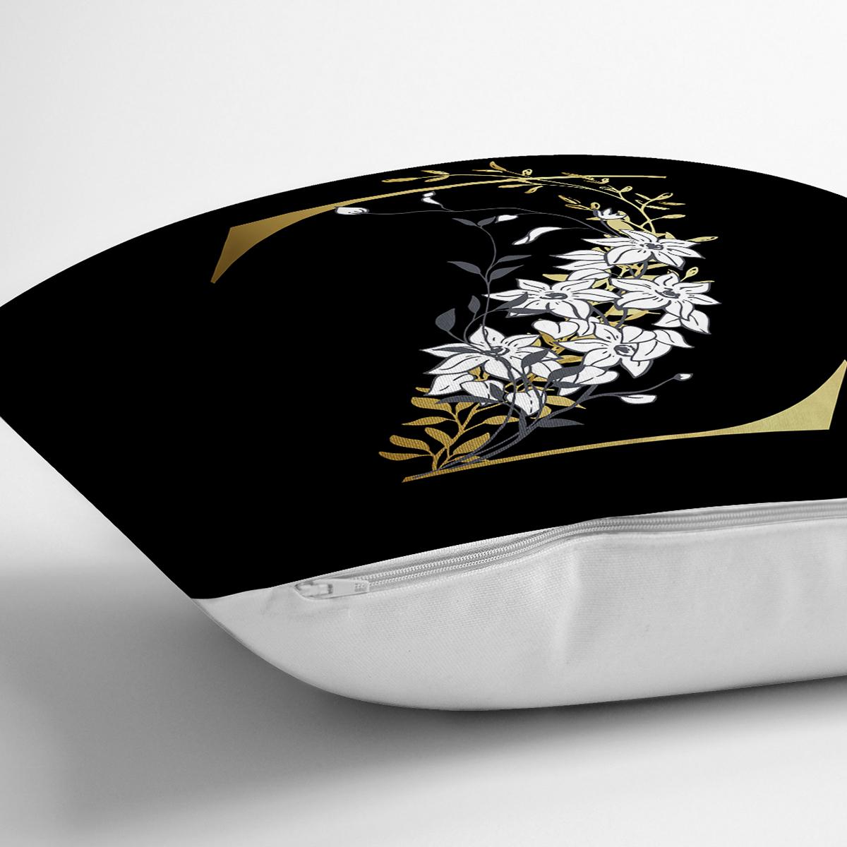Siyah Zemin Beyaz Gül Motifli Gold Z Harfi Özel Tasarım Dijital Baskılı Yastık Kırlent Kılıfı Realhomes
