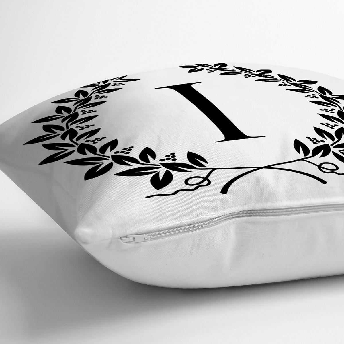 Siyah Beyaz Çelenkli I Harfi Özel Tasarım Dijital Baskılı Yastık Kırlent Kılıfı Realhomes