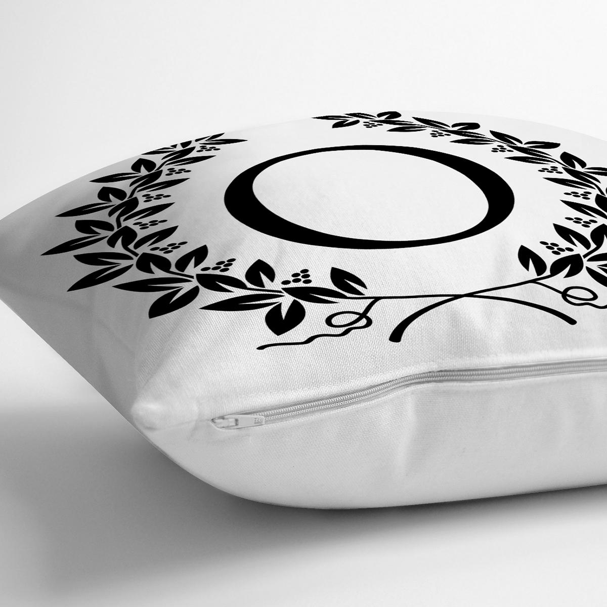 Siyah Beyaz Çelenkli O Harfi Özel Tasarım Dijital Baskılı Yastık Kırlent Kılıfı Realhomes