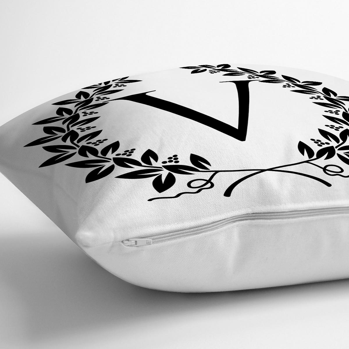 Siyah Beyaz Çelenkli V Harfi Özel Tasarım Dijital Baskılı Yastık Kırlent Kılıfı Realhomes