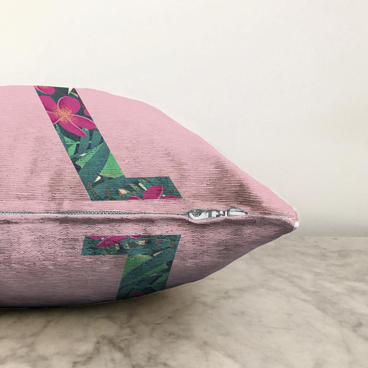 Pembe Zemin Tropik Yapraklı L Harfi Özel Tasarım Dijital Baskılı Şönil Yastık Kırlent Kılıfı Realhomes