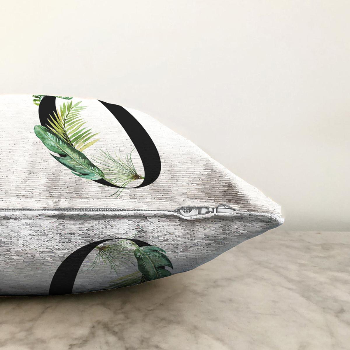 Beyaz Zemin Yaprak Motifli Siyah 0 Rakamı Özel Tasarım Dijital Baskılı Şönil Yastık Kırlent Kılıfı Realhomes