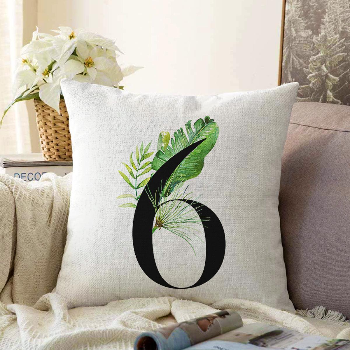 Beyaz Zemin Yaprak Motifli Siyah 6 Rakamı Özel Tasarım Dijital Baskılı Şönil Yastık Kırlent Kılıfı Realhomes