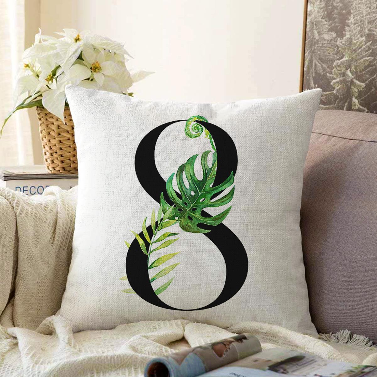 Beyaz Zemin Yaprak Motifli Siyah 8 Rakamı Özel Tasarım Dijital Baskılı Şönil Yastık Kırlent Kılıfı Realhomes
