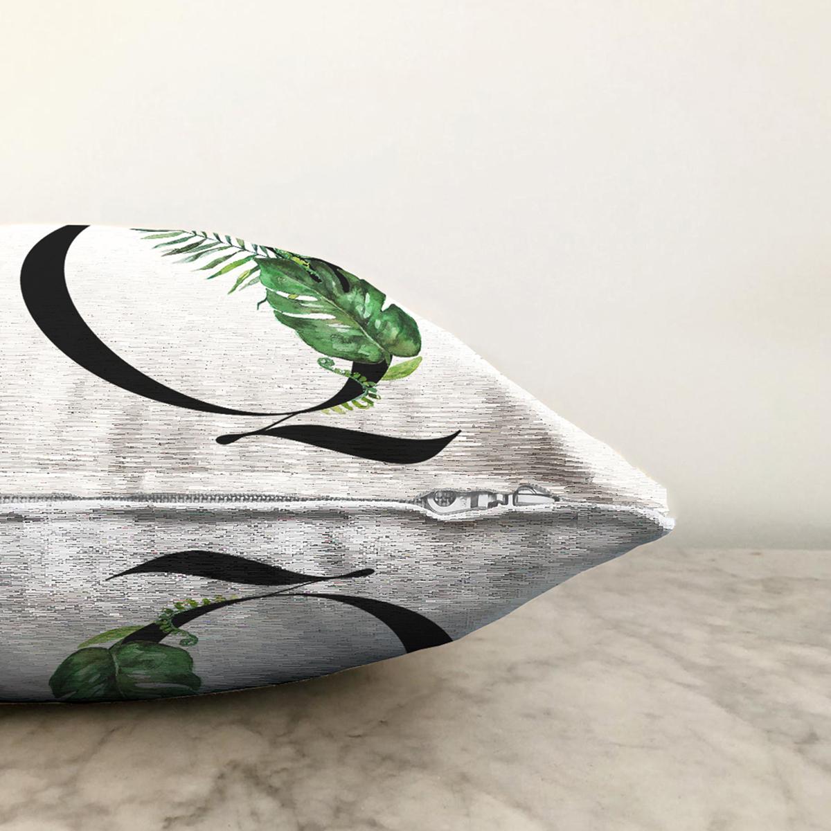 Beyaz Zemin Yaprak Motifli Siyah Q Harfi Özel Tasarım Dijital Baskılı Şönil Yastık Kırlent Kılıfı Realhomes