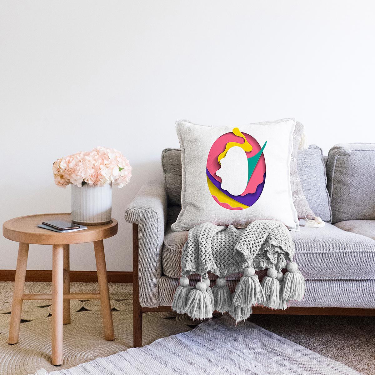 Beyaz Zemin Renkli 0 Rakamlı Özel Tasarım Dijital Baskılı Şönil Yastık Kırlent Kılıfı Realhomes
