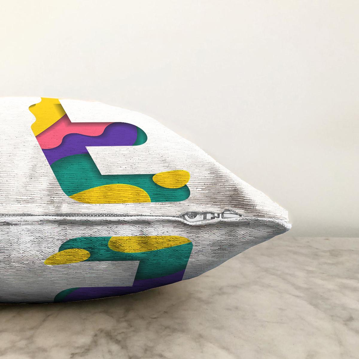 Beyaz Zemin Renkli E Harfli Özel Tasarım Dijital Baskılı Şönil Yastık Kırlent Kılıfı Realhomes