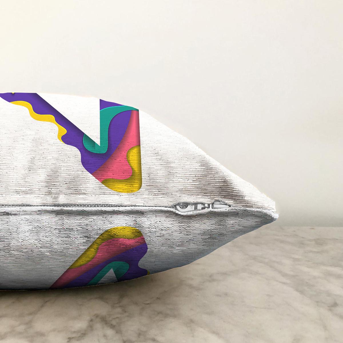Beyaz Zemin Renkli V Harfli Özel Tasarım Dijital Baskılı Şönil Yastık Kırlent Kılıfı Realhomes