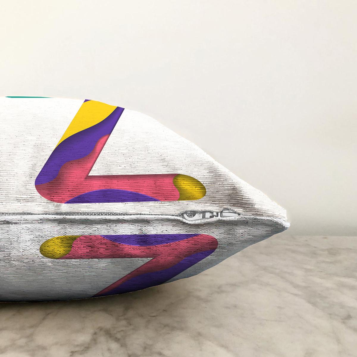 Beyaz Zemin Renkli Z Harfli Özel Tasarım Dijital Baskılı Şönil Yastık Kırlent Kılıfı Realhomes