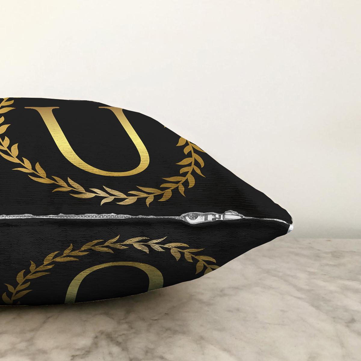 Siyah Zemin Gold Yaprak Çerçeveli U Harfi Özel Tasarım Dijital Baskılı Şönil Yastık Kırlent Kılıfı Realhomes