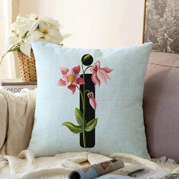 Mavi Zemin Çiçek Desenli Siyah J Harfi Özel Tasarım Dijital Baskılı Şönil Yastık Kırlent Kılıfı Realhomes