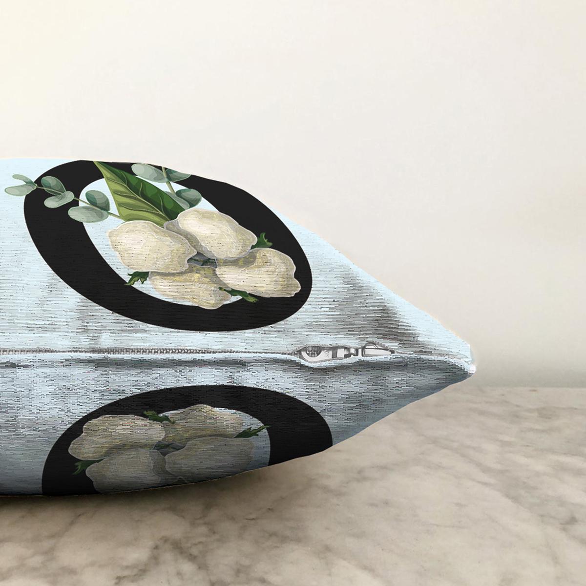 Mavi Zemin Çiçek Desenli Siyah Ö Harfi Özel Tasarım Dijital Baskılı Şönil Yastık Kırlent Kılıfı Realhomes