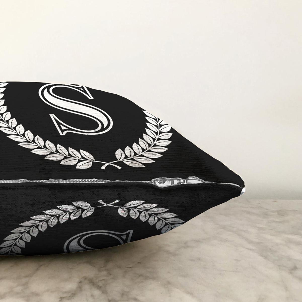 Siyah Beyaz Çelenkli S Harfi Özel Tasarım Dijital Baskılı Şönil Yastık Kırlent Kılıfı Realhomes
