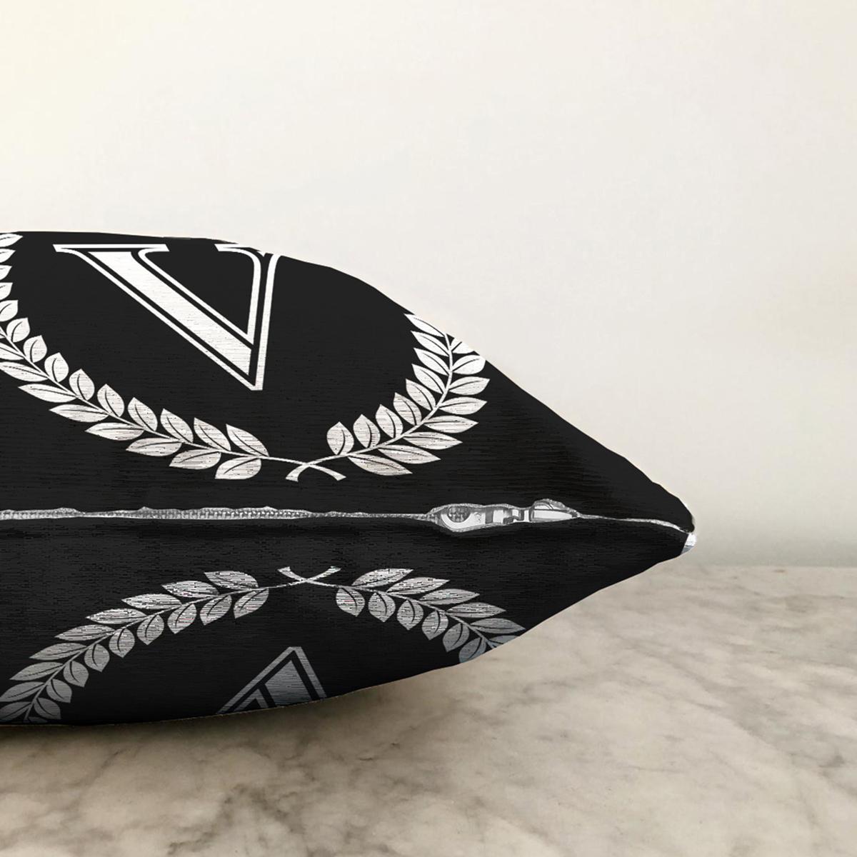 Siyah Beyaz Çelenkli V Harfi Özel Tasarım Dijital Baskılı Şönil Yastık Kırlent Kılıfı Realhomes