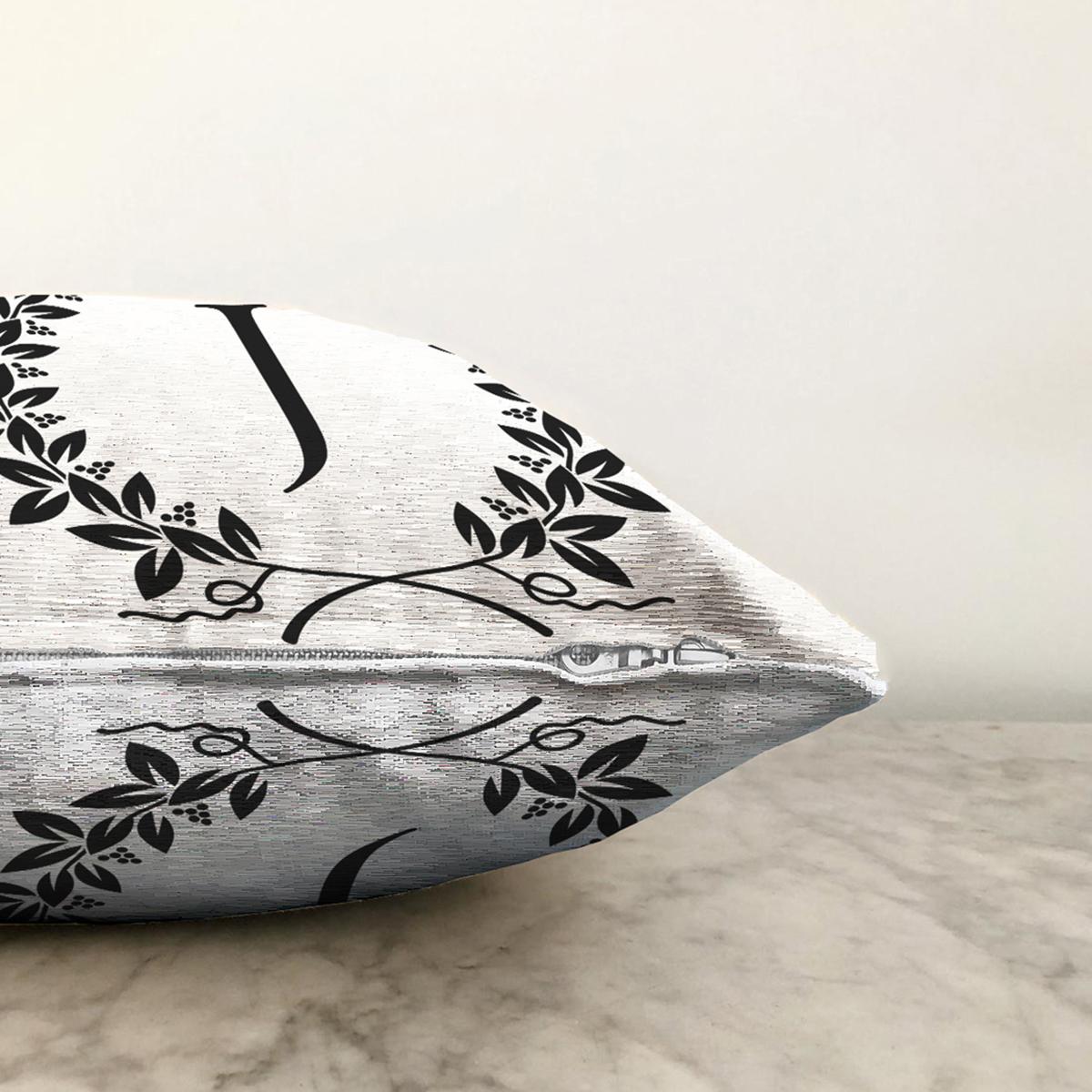 Siyah Beyaz Çelenkli J Harfi Özel Tasarım Dijital Baskılı Şönil Yastık Kırlent Kılıfı Realhomes