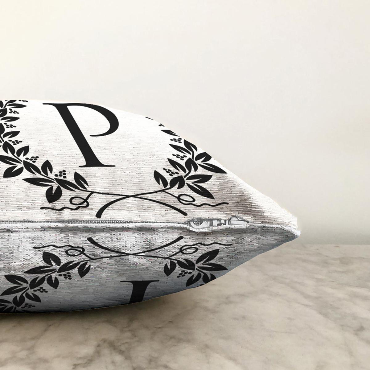 Siyah Beyaz Çelenkli P Harfi Özel Tasarım Dijital Baskılı Şönil Yastık Kırlent Kılıfı Realhomes
