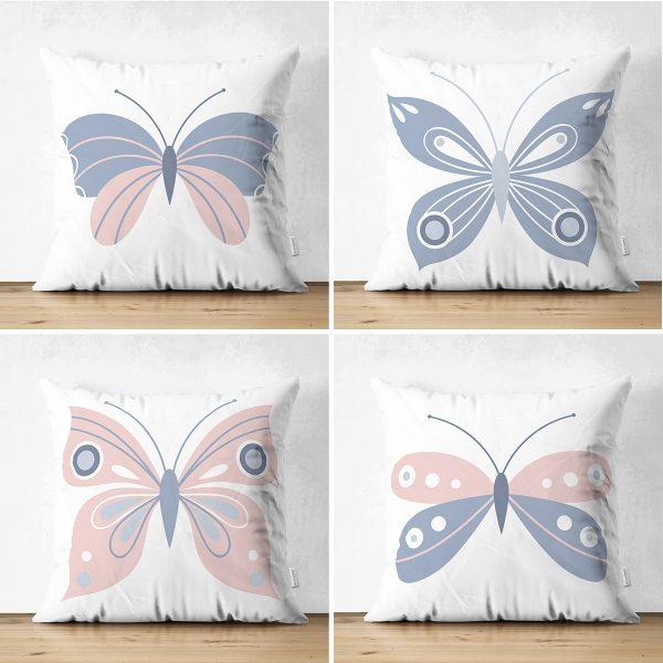 4'lü Beyaz Zemin Pembe & Mavi Kelebek Tasarımlı Dijital Baskılı Modern Süet Kırlent Kılıfı Seti Realhomes