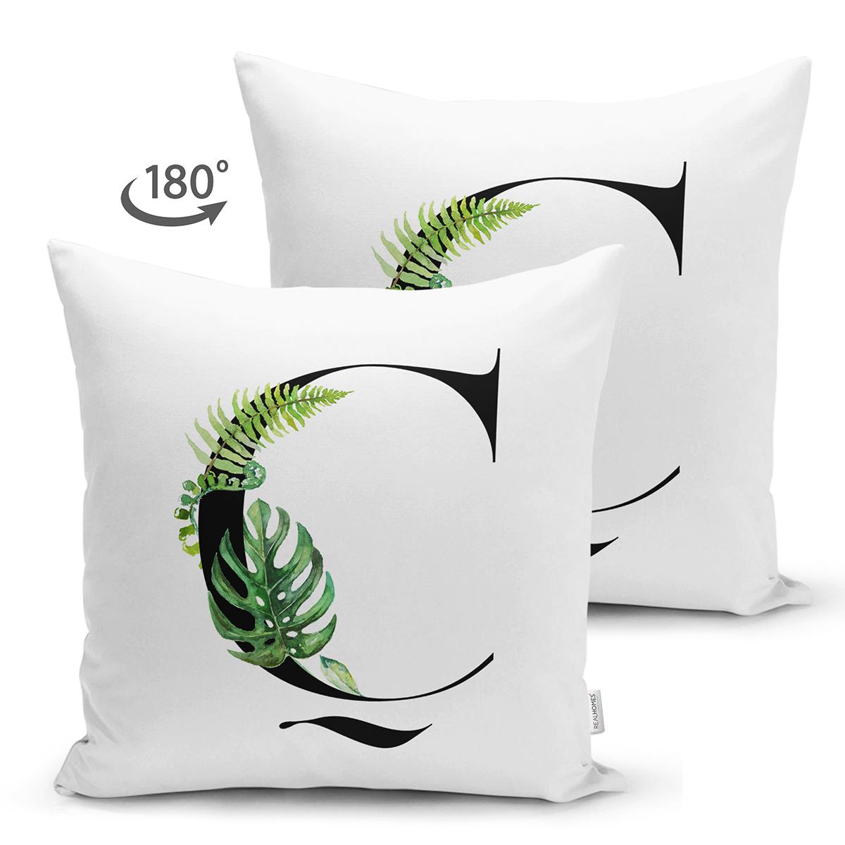 Beyaz Zemin Yaprak Motifli Siyah Ç Harfi Özel Tasarım Modern Suet Yastık Kırlent Kılıfı Realhomes