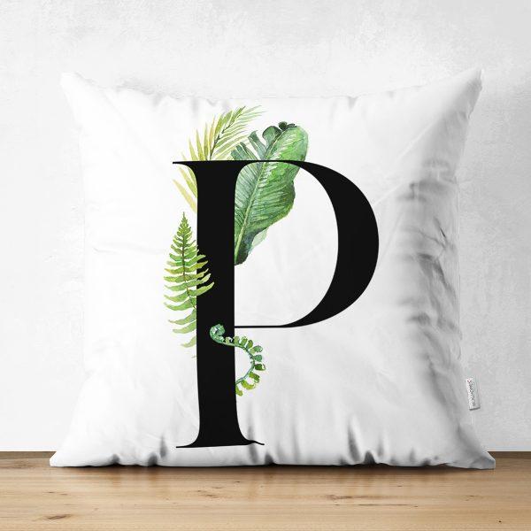 Beyaz Zemin Yaprak Motifli Siyah P Harfi Özel Tasarım Modern Suet Yastık Kırlent Kılıfı Realhomes