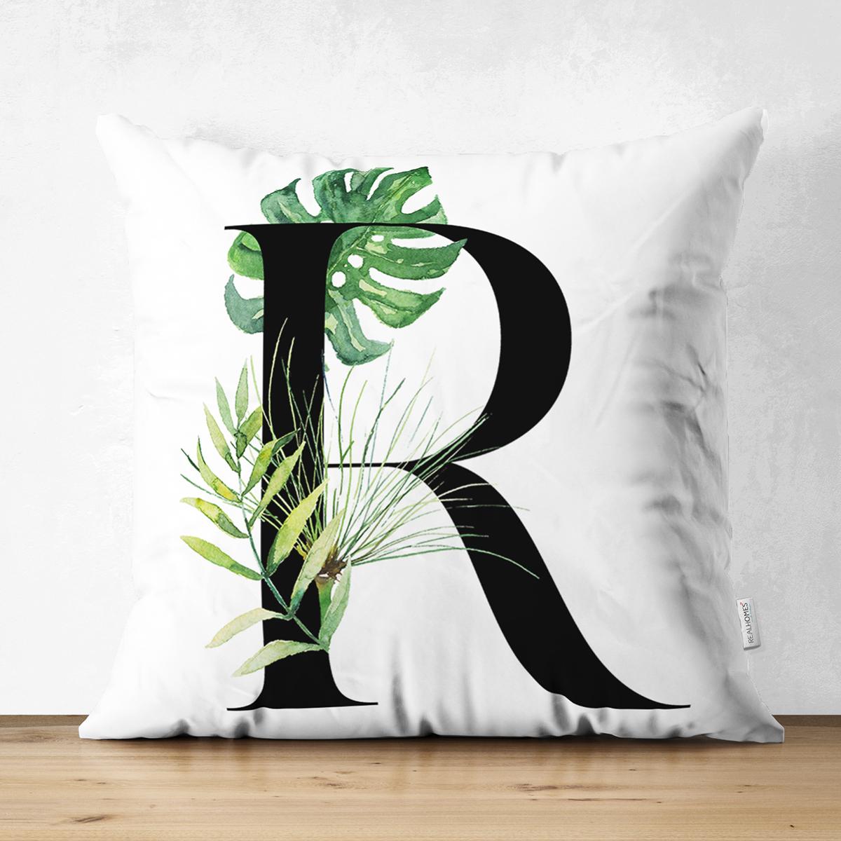 Beyaz Zemin Yaprak Motifli Siyah RHarfi Özel Tasarım Modern Suet Yastık Kırlent Kılıfı Realhomes