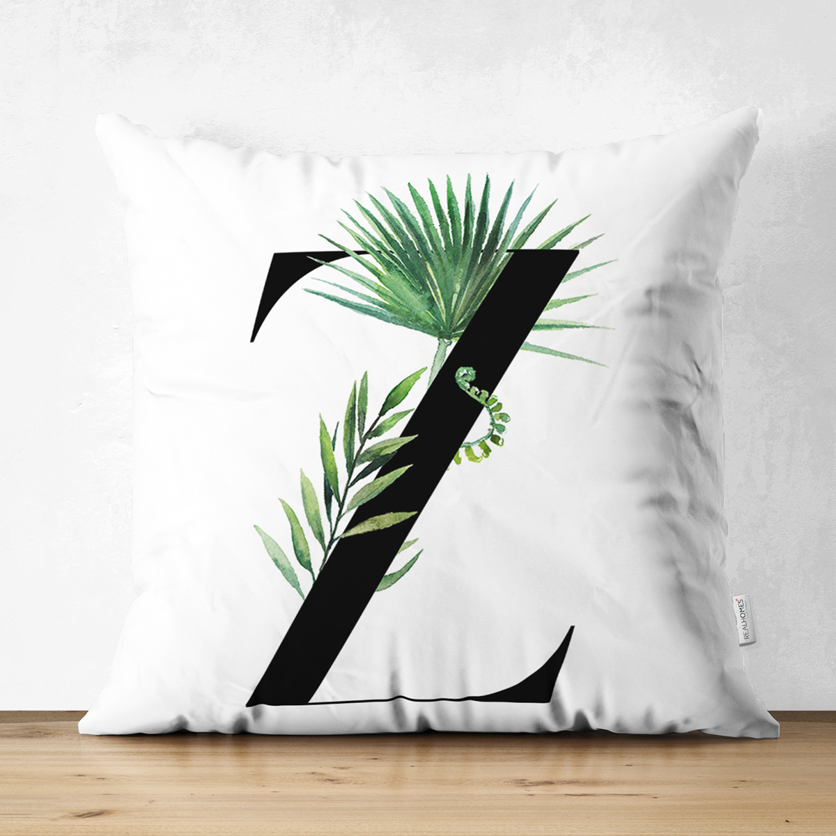 Beyaz Zemin Yaprak Motifli Siyah Z Harfi Özel Tasarım Modern Suet Yastık Kırlent Kılıfı Realhomes