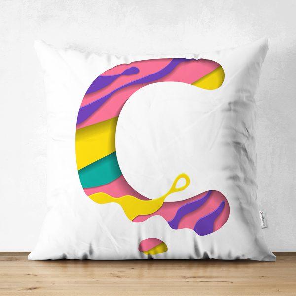 Beyaz Zemin Renkli K Harfli Özel Tasarım Modern Suet Yastık Kırlent Kılıfı Realhomes