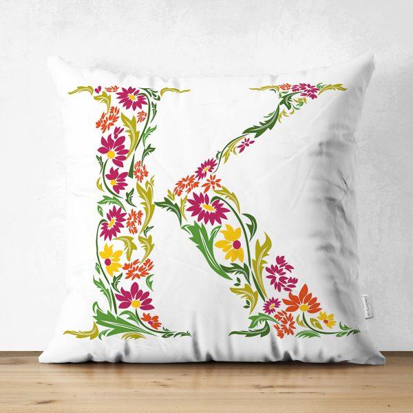 Beyaz Zemin Yaprak Temalı Ç Harfi Özel Tasarım Modern Suet Yastık Kırlent Kılıfı Realhomes